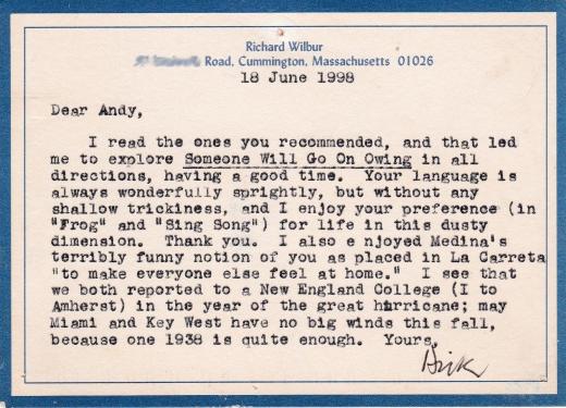 Richard Wilbur note 1998 edited